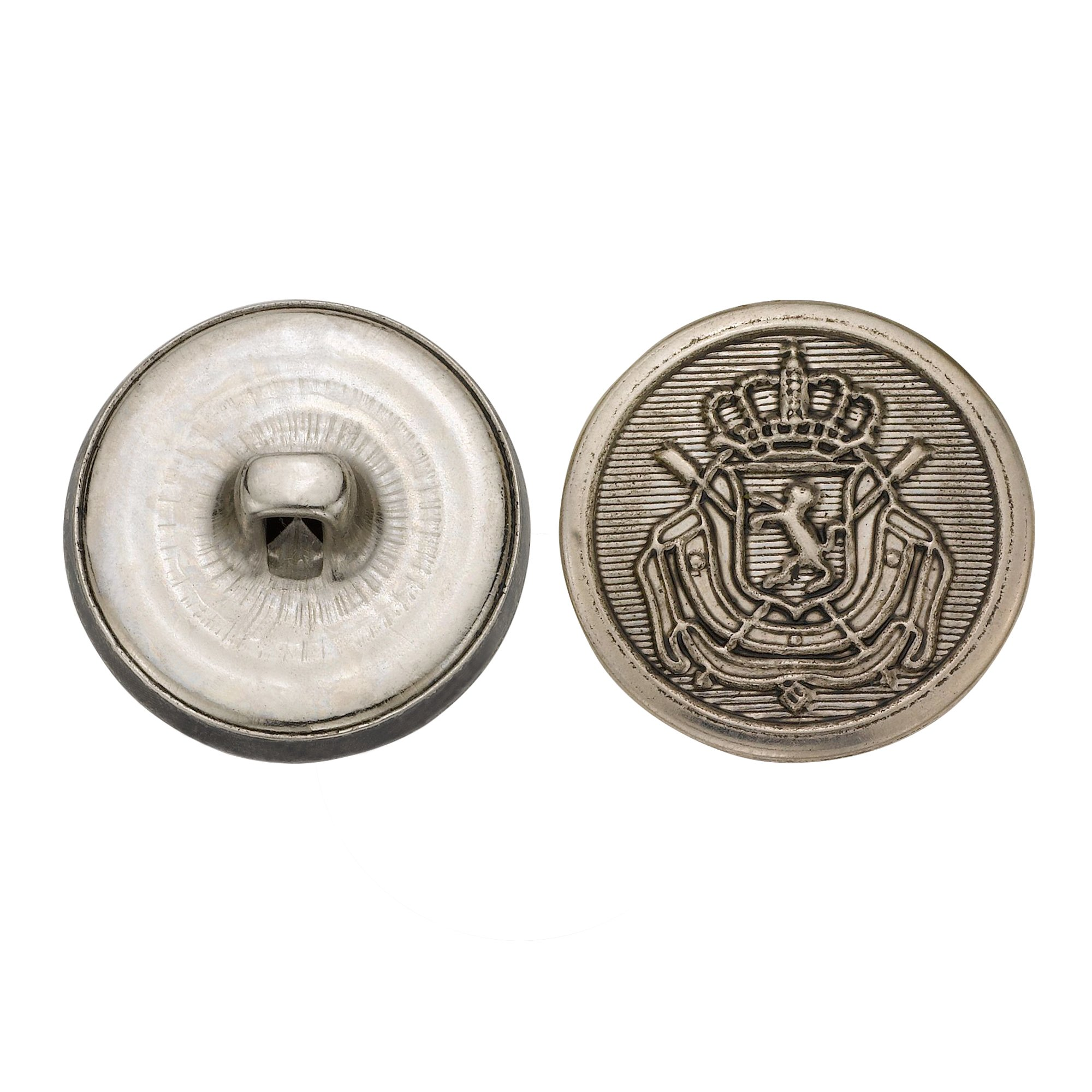 C&C Metal Products 5289 Royal Crest Metal Button, Size 33 Ligne, Antique Nickel, 36-Pack