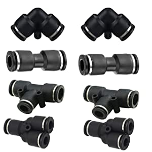 "1/4""od Push to Connect Fittings Pneumatic Fittings kit 2 Spliters+2 Elbows+2 tee+2 Straight 8pack (1/4"" Combo)"
