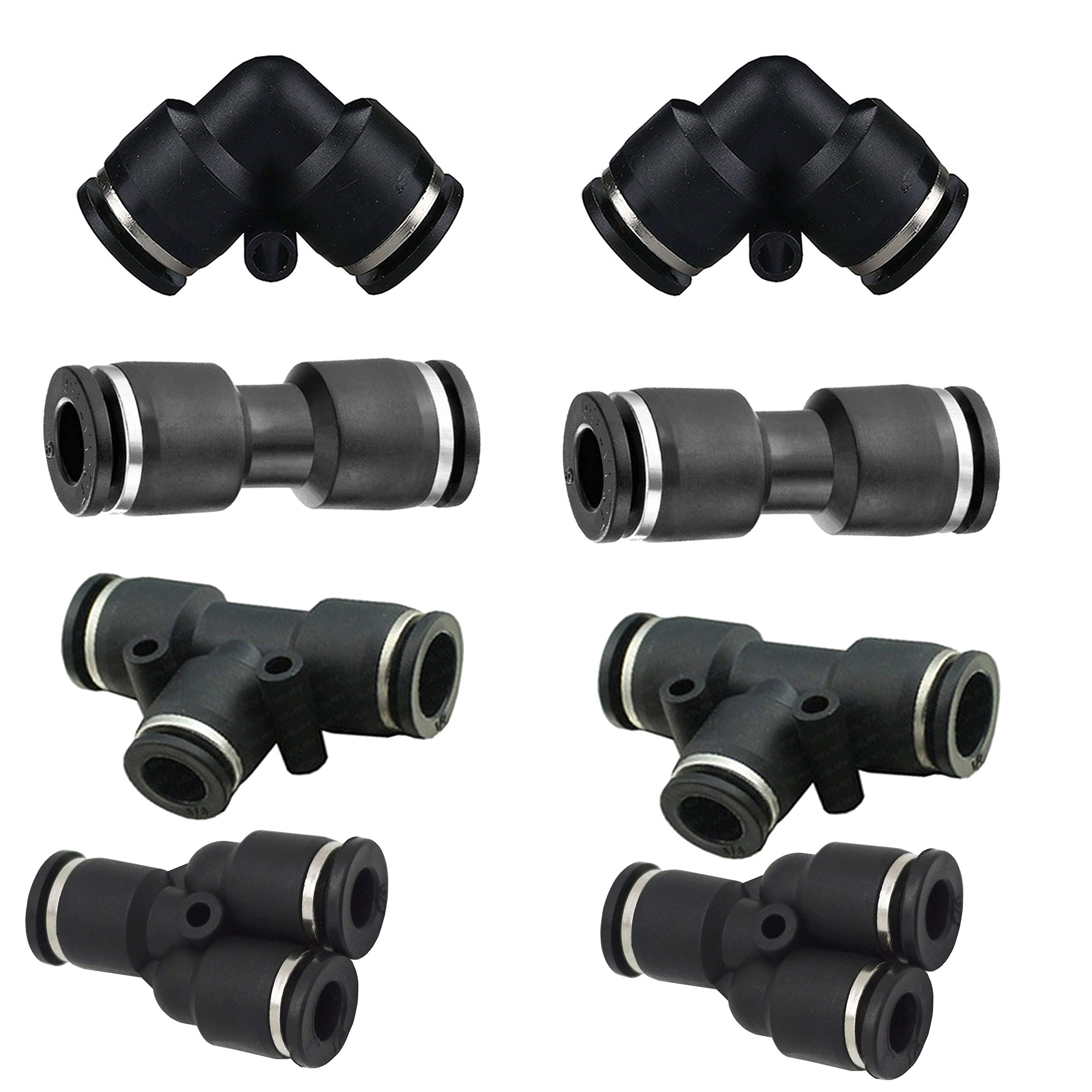 """1/4""""od Push to Connect Fittings Pneumatic Fittings kit 2 Spliters+2 Elbows+2 tee+2 Straight 8pack (1/4'' Combo)"""