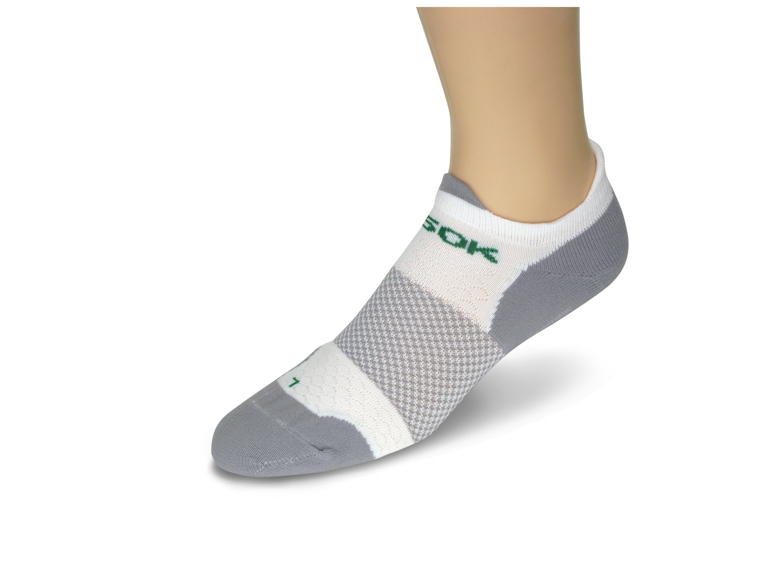 Fitsok F4 No Show Sock, 3-Pack (White, Small)