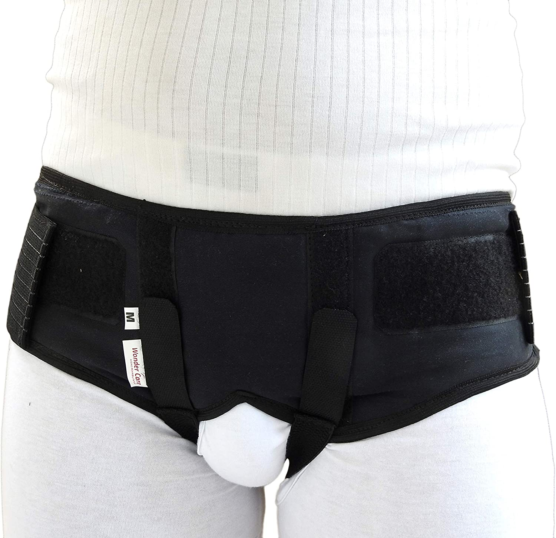 Wonder Care - Cinturón de sujeción para hernia inguinal – Braguero con 2 almohadillas laterales de compresión extraíbles – negro