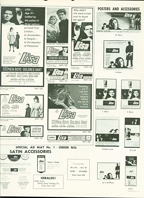 1962 Lisa press book Stephen Boyd, Dolores Hart, Leo McKern Jan de Hartog at Amazons Entertainment Collectibles Store