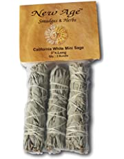 NewAge Smudges and Herbs MCWS3 California Mini Sage Wands, 3-Inch, Pack of 3, White