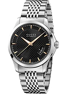 Gucci G-Timeless Black Dial Stainless Steel Automatic Mens Watch YA126420