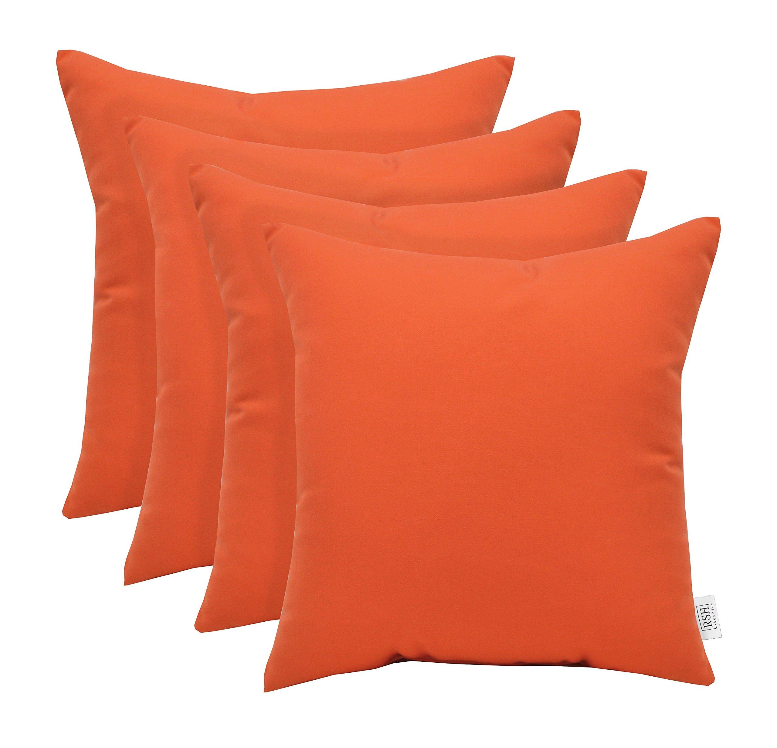 RSH Décor Set of 4 Indoor Outdoor Decorative Throw Pillows Sunbrella Canvas Melon ~ Vibrant Orange - Choose Size (20'' x 20'')