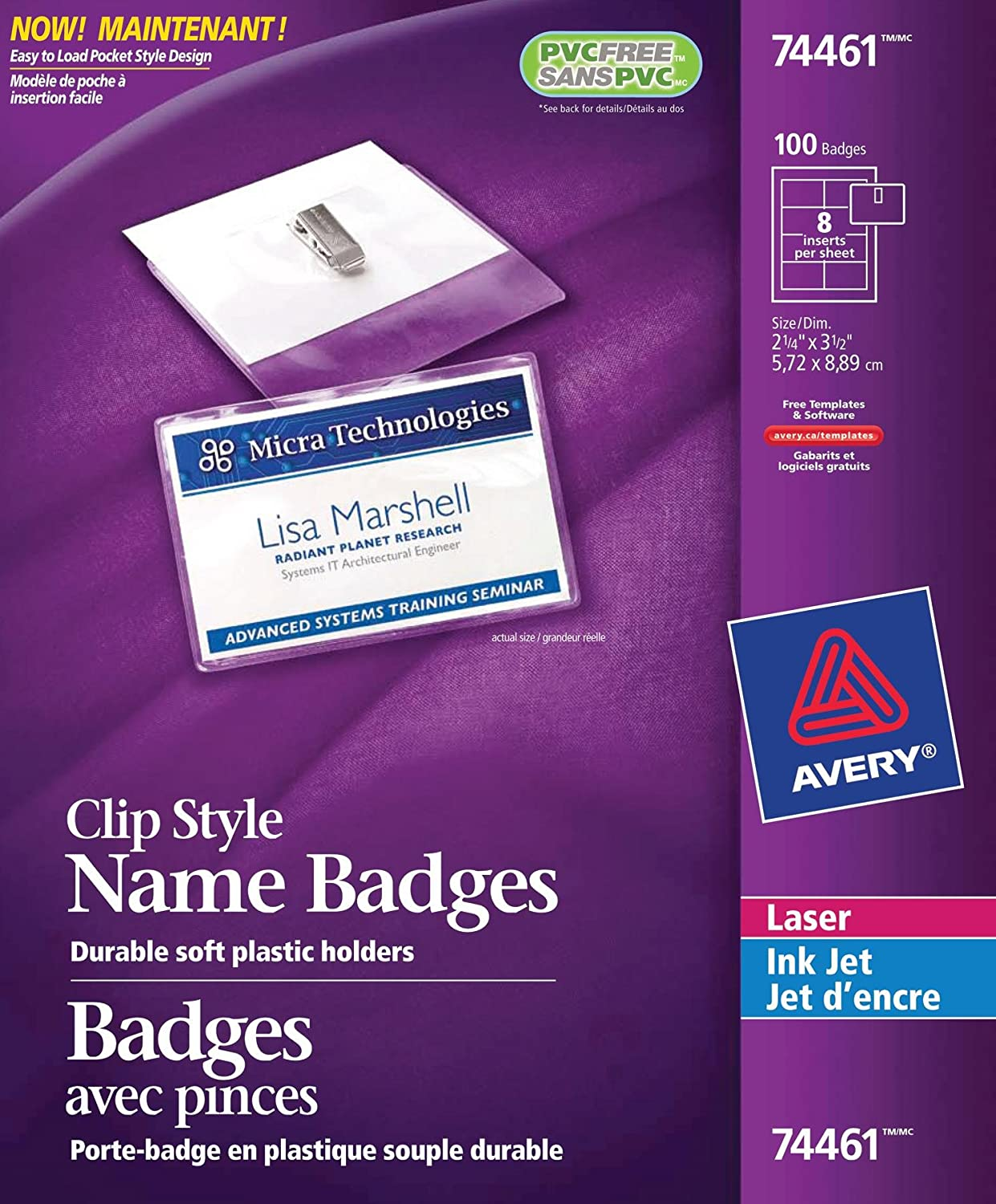 Avery Garment Friendly Clip Style Name Badge Kit for Laser and Inkjet Printers, 2-5/8 x 3-1/2, Clear, 100 Pack (74461) 2-5/8 x 3-1/2 Avery Dennison CA