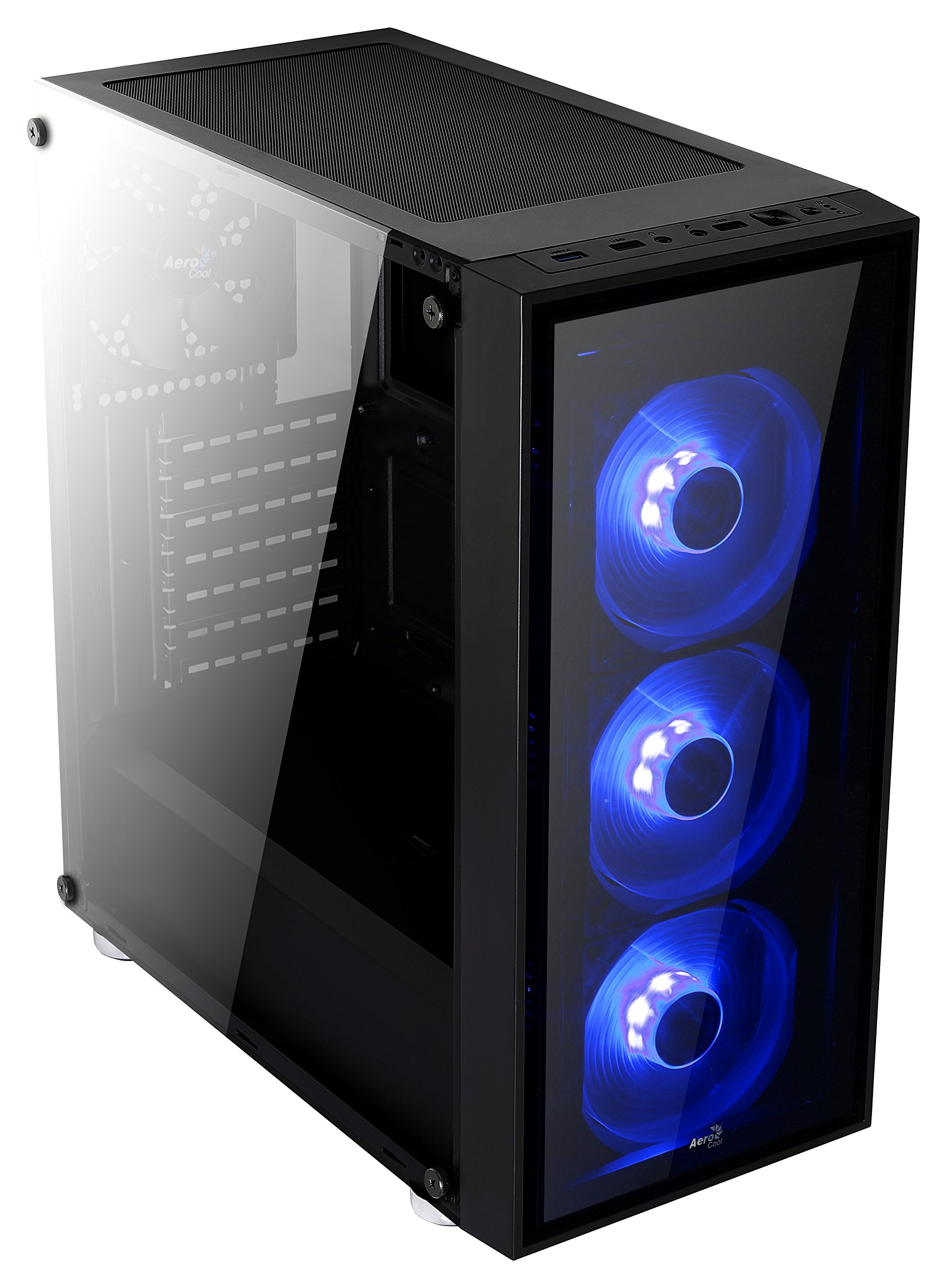 Aerocool Quartz-Blue Front and Side Tempered Glass Mid Tower Case, Black