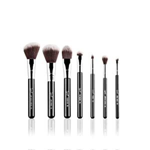 Sigma Beauty Sigmax Essential Travel Brush Set, 7 Brushes, Brush Cup Included