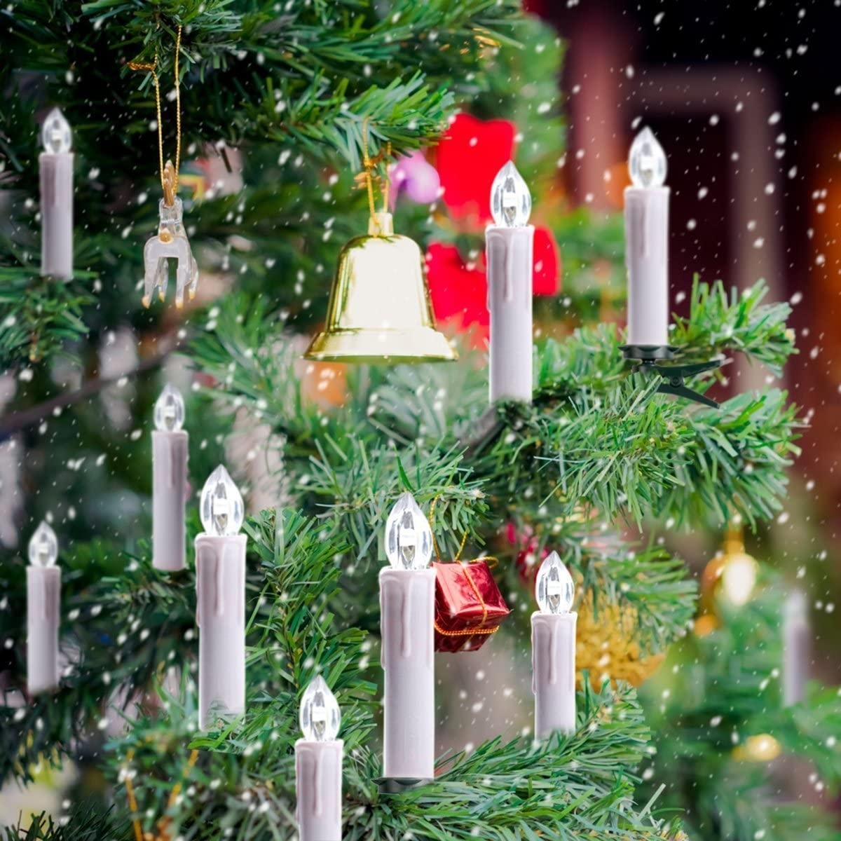 Tree Candles 10pcs warm white LED Wirelessly to attach with clip including remote control for any Party