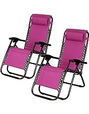 Superworth Set Of 2 Folding Zero Gravity Chairs Sun Lounger Recliner For Beach Patio Garden Camping Outdoor Blue/Gray/Purple