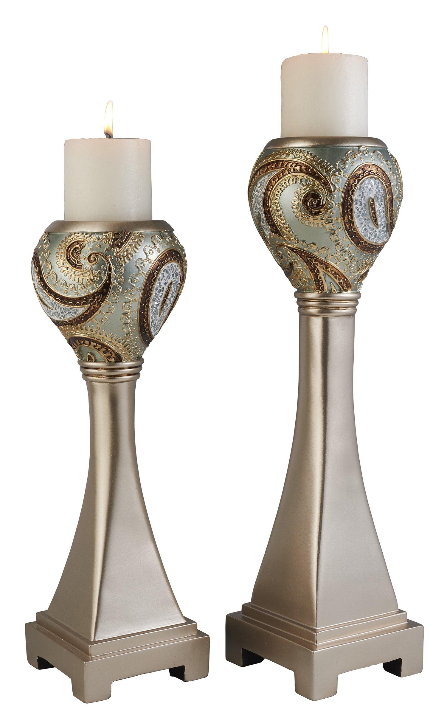 OK Lighting OK-4277C Aurora Paisley Candleholder (Set of 2), 16'' & 19''