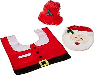 Ohuhu Christmas Santa Toilet Seat Cover, Toilet Paper Box Cover and Rug Set