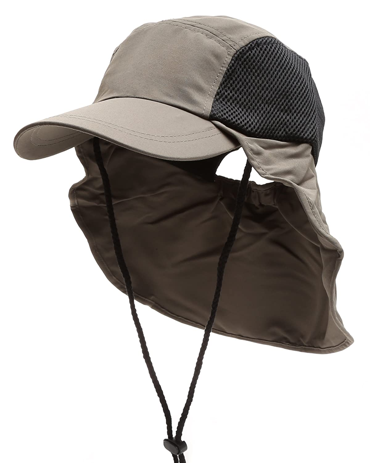 MIRMARU Summer Outdoor UPF Protection Safari Sun Hat with Neck Flap and Chin Strap MM-NH-1536-BLACK