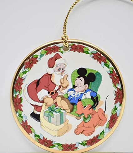 "Disney/Grolier Collectibles -""Waiting for Santa"" Porcelain Christmas  Ornament - Mickey - Disney/Grolier Collectibles -"