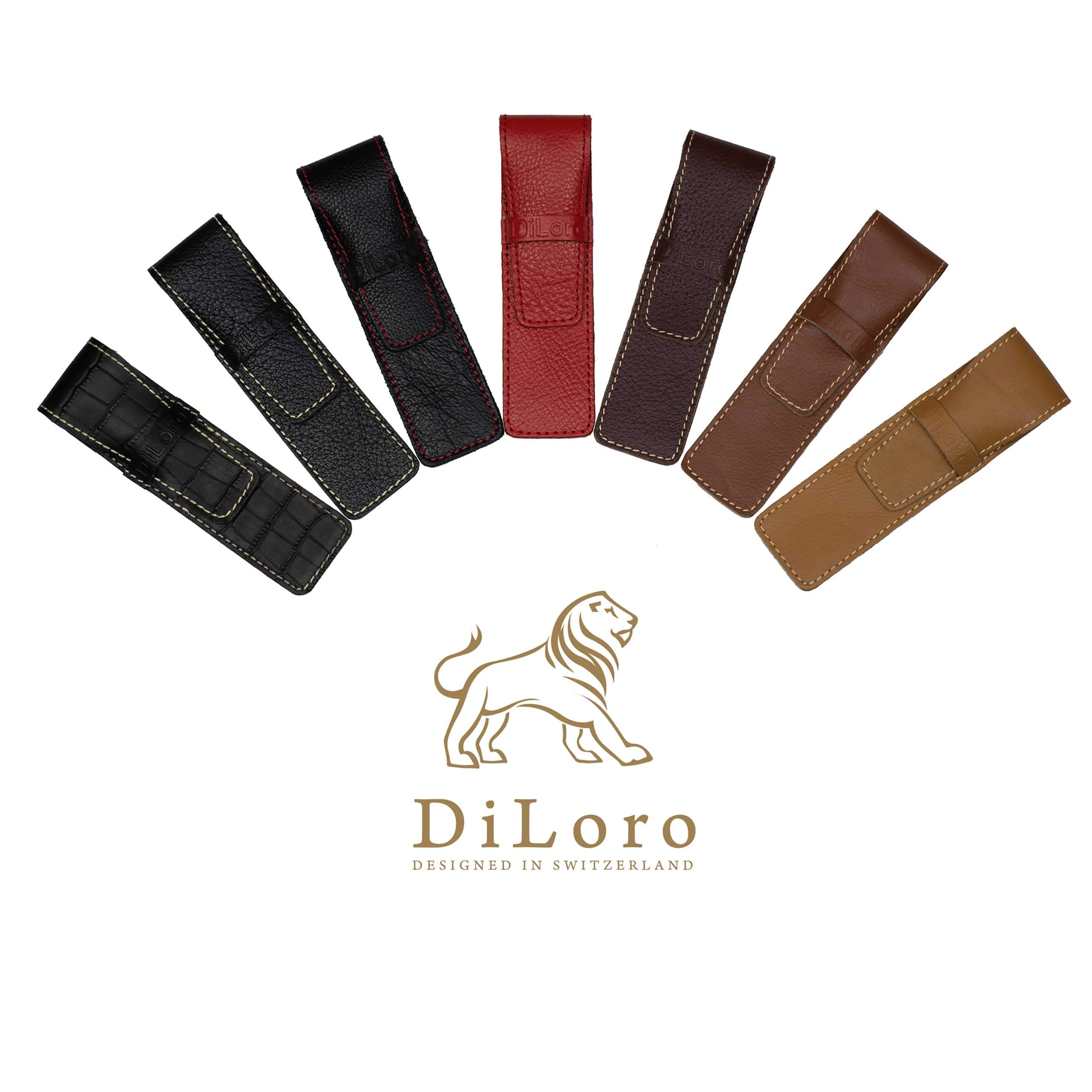 DiLoro Full Grain Top Quality Thick Buffalo Italian Leather Single Pen Case Holder Pouch Black by DiLoro