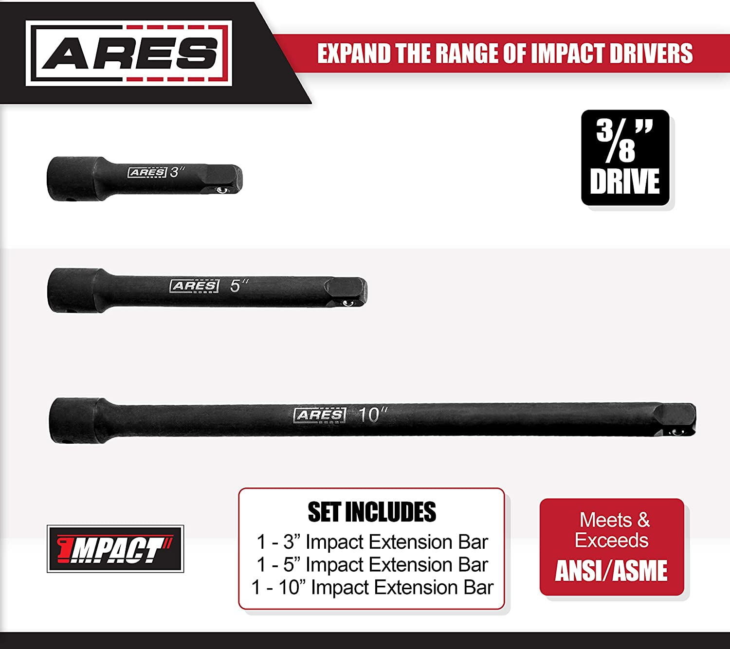 3-Inch 5-Inch and 10-Inch Laser Etched Socket Extensions Expand the Range of Impact Drivers ARES 70031-1//2-Inch Drive Impact Extension Bar Set