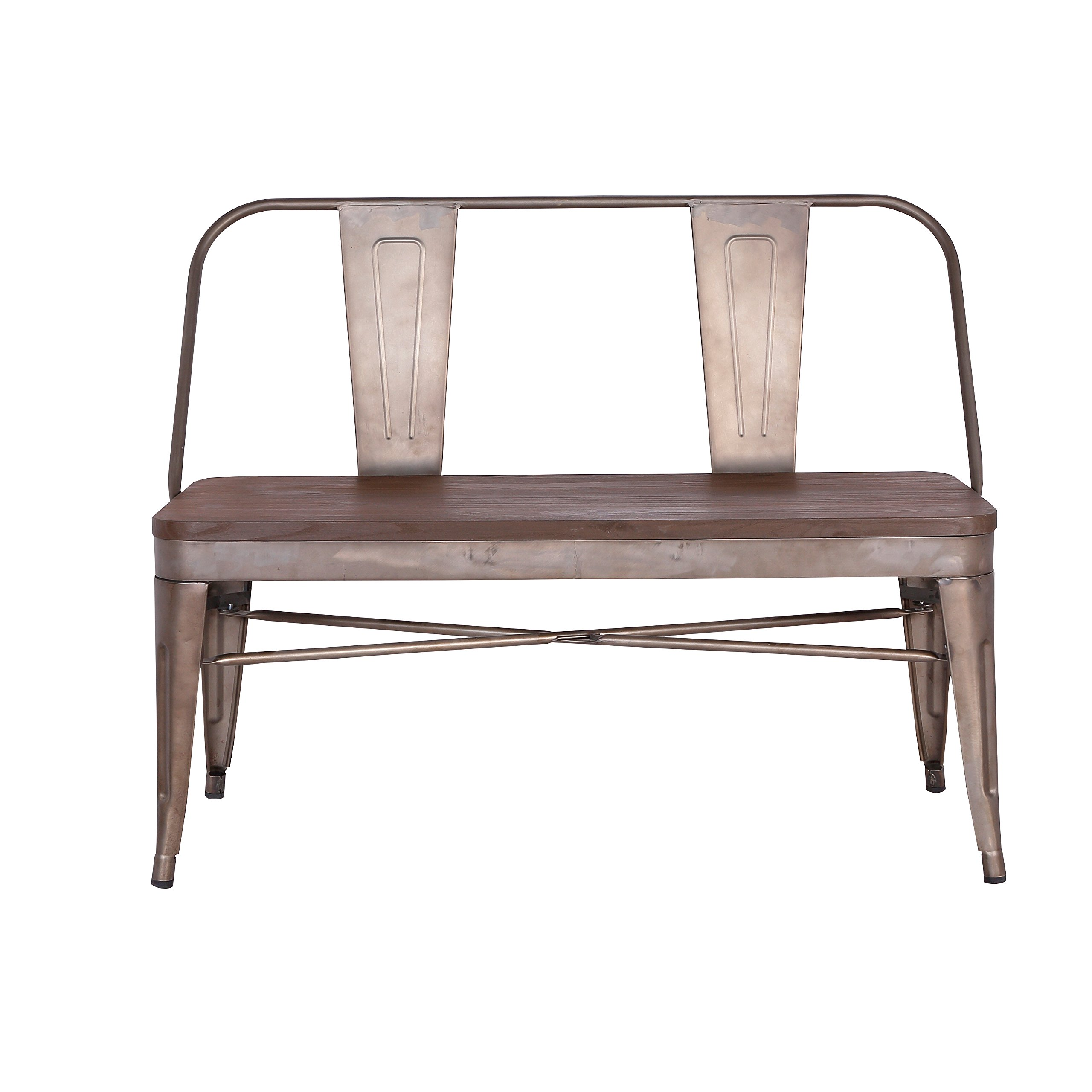 Poly and Bark EM-311-BRZ Trattoria Bench with Elm Wood Seat by POLY & BARK (Image #2)