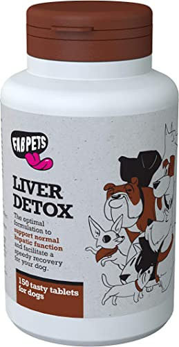 Dog Liver Support – Fab Pets Liver Detox – Boost Liver Function – Natural Vitamins and Antioxidants – Milk Thistle, Vitamin E, Dandelion Root, Blueberries Extract, Beta-Carotene – 150 Tasty Tablets