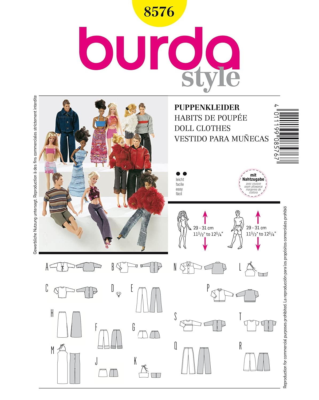 Patrón de costura para ropa de muñecas de trapo burda 8576: Amazon ...
