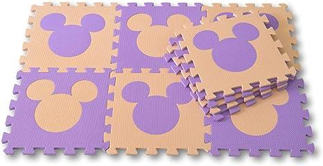 Meitoku Alfombra de Goma EVA para niños con puzle. 10 alfombras de 30 x 30 x 1 cm. Ratón Beige y Morado.: Amazon.es: Juguetes y juegos