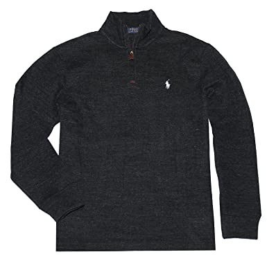 Polo Ralph Lauren Men Half Zip French Rib Cotton Sweater (XS, Black White  Pony