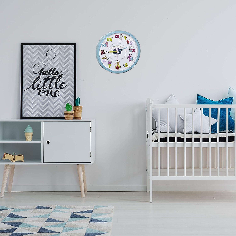 TFA Dostmann Little Animals Horloge Murale silencieuse pour Enfant avec Motif Animaux en Plastique Bleu Clair 309 x 44 x 309 mm