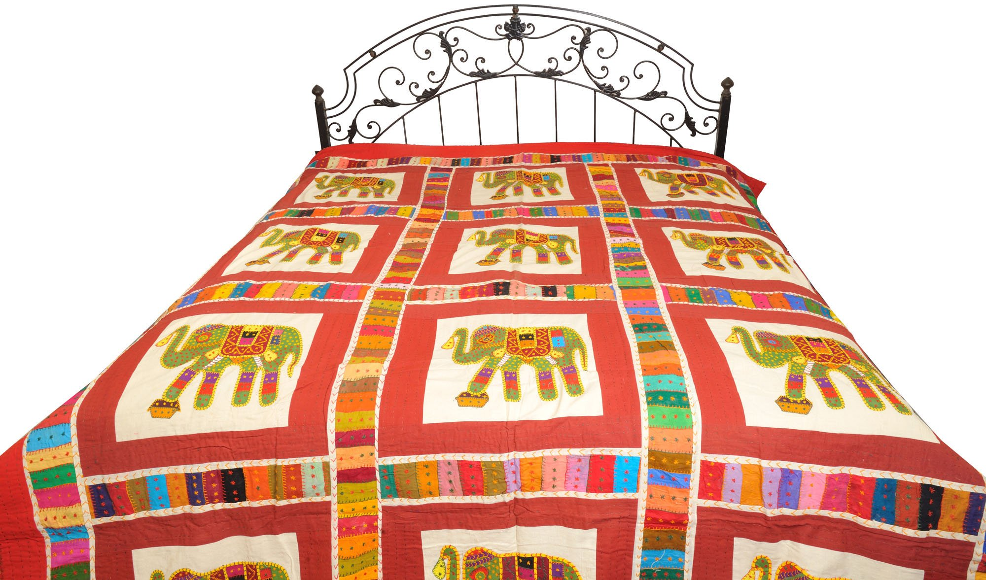 Bedcover from Jodhpur with Applique Elephants and Kantha Stitch - Pure Cotton - Color Cowhide Red Color