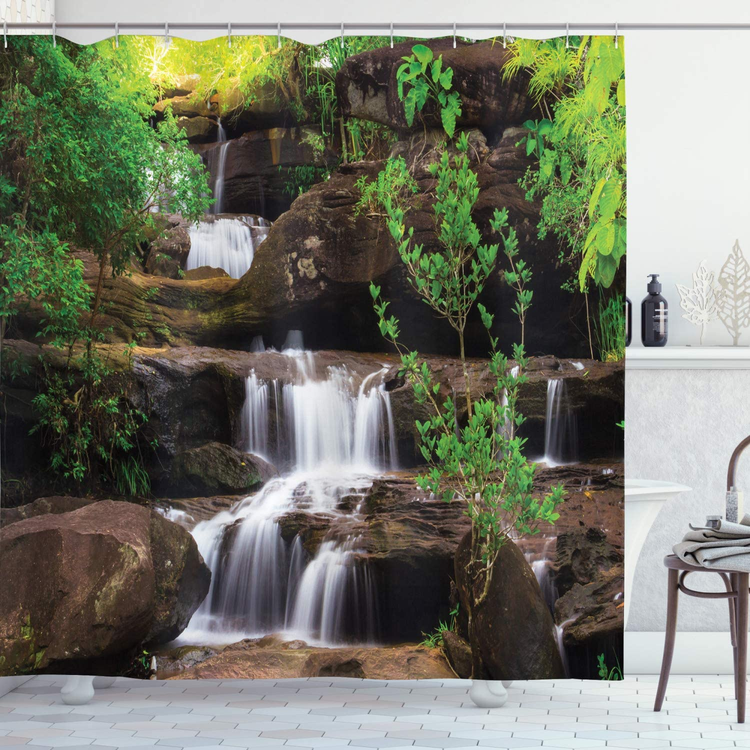 Amazon Com Ambesonne Waterfall Shower Curtain Little Waterfalls Flow On Rock Stairs Surrounded By Long Plants Earth Cloth Fabric Bathroom Decor Set With Hooks 70 Long Brown White Home Kitchen