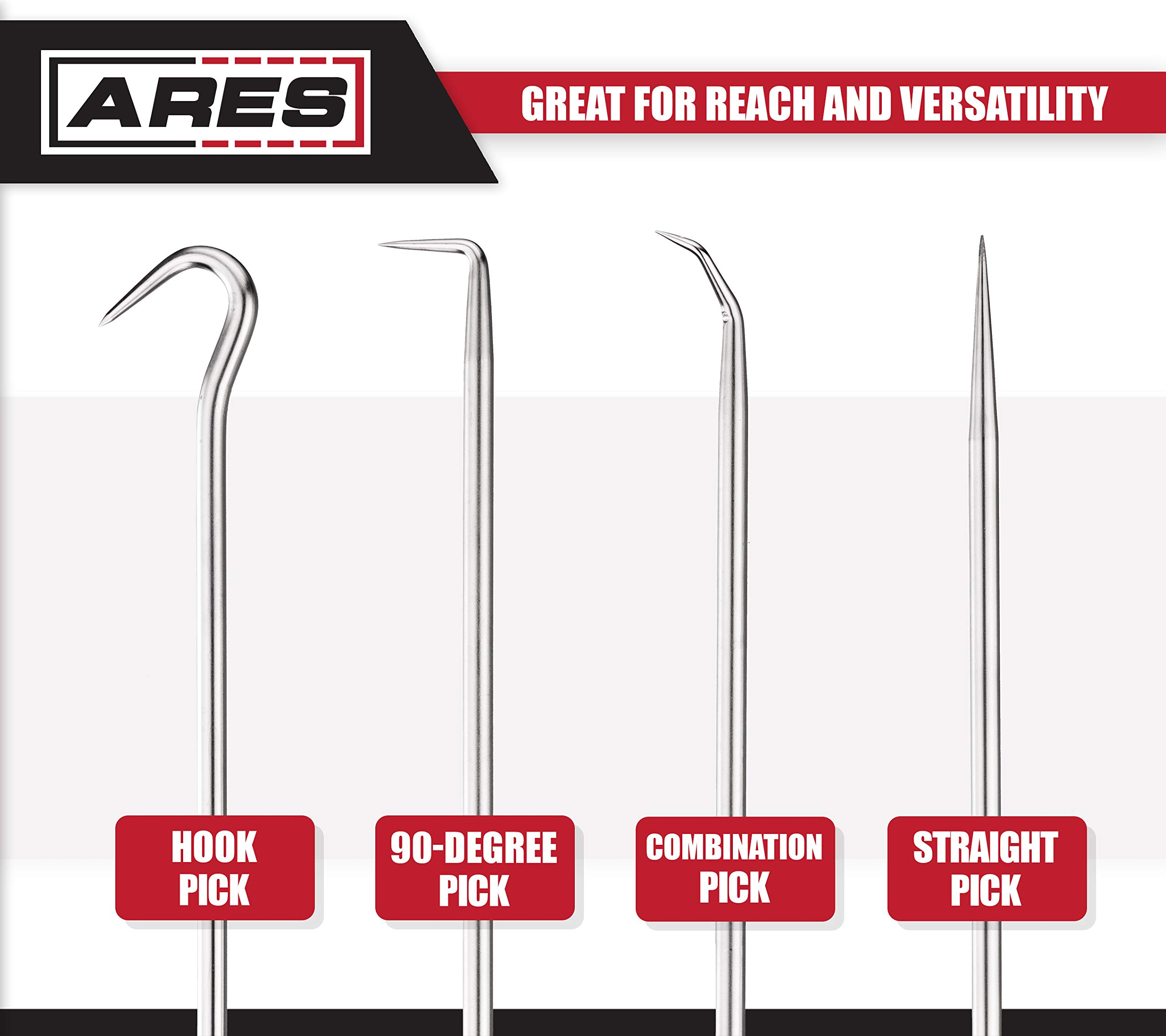 ARES 70246-4-Piece Hook and Pick Set - Includes a Large Straight Pick, 90 Degree Pick, Combination Pick and a Hook Pick - Chrome Vanadium Steel Shafts - Easily Remove Hoses, Gaskets and More by ARES (Image #3)