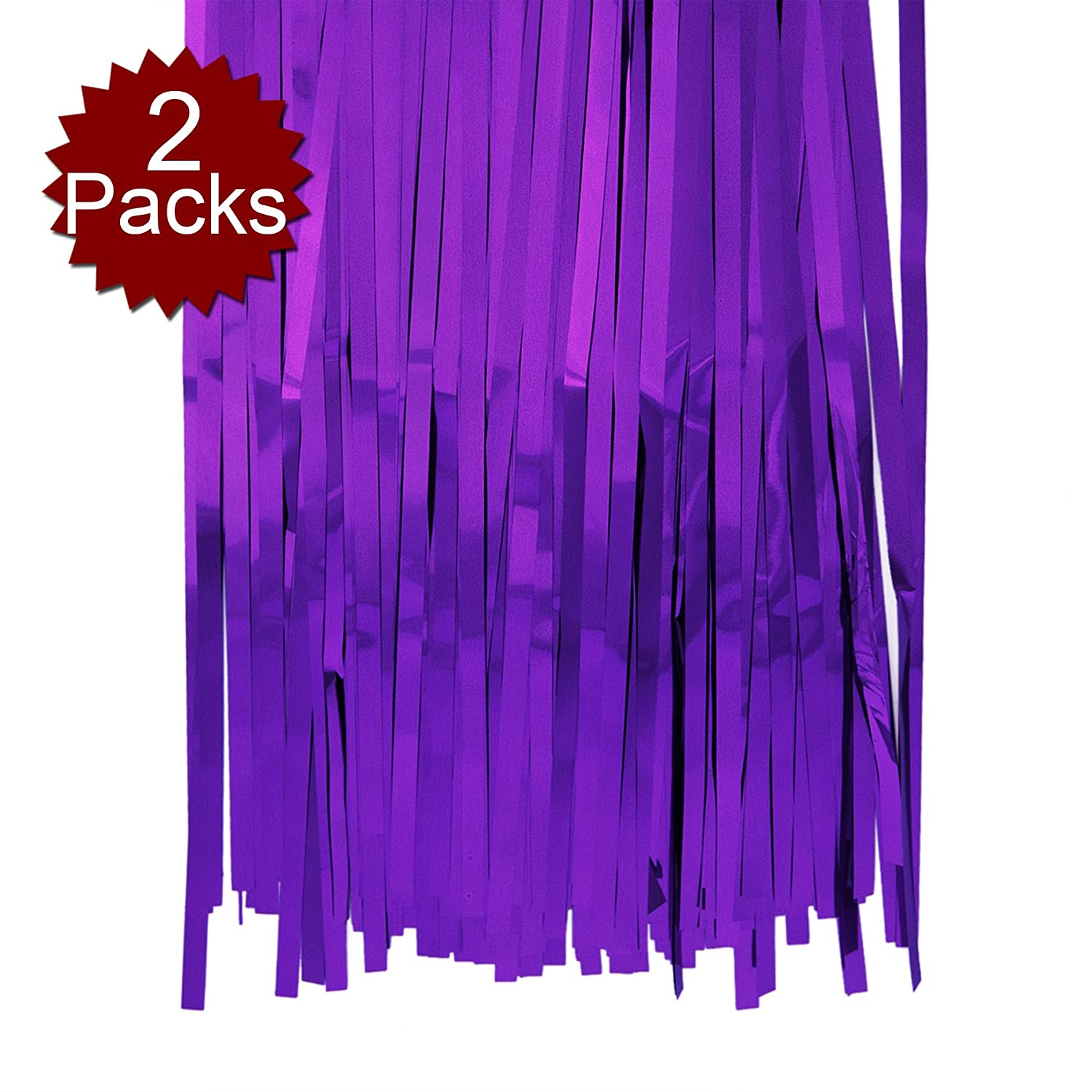 Aspire 2-Pack X 3ft X 8ft Foil Fringe Shiny Long Window Tinsel for Party Prom Birthday Event Decorations-Black-3x8 BB12152/_BLACK-3X8