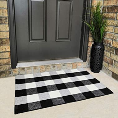 Cotton Buffalo Plaid Rugs Black and White Checkered Rug Welcome Door Mat (23.6 x35.4 ) Rug for Kitchen Carpet Bathroom Outdoor Porch Laundry Living Room Braided Throw Mat Washable Woven Buffalo Check