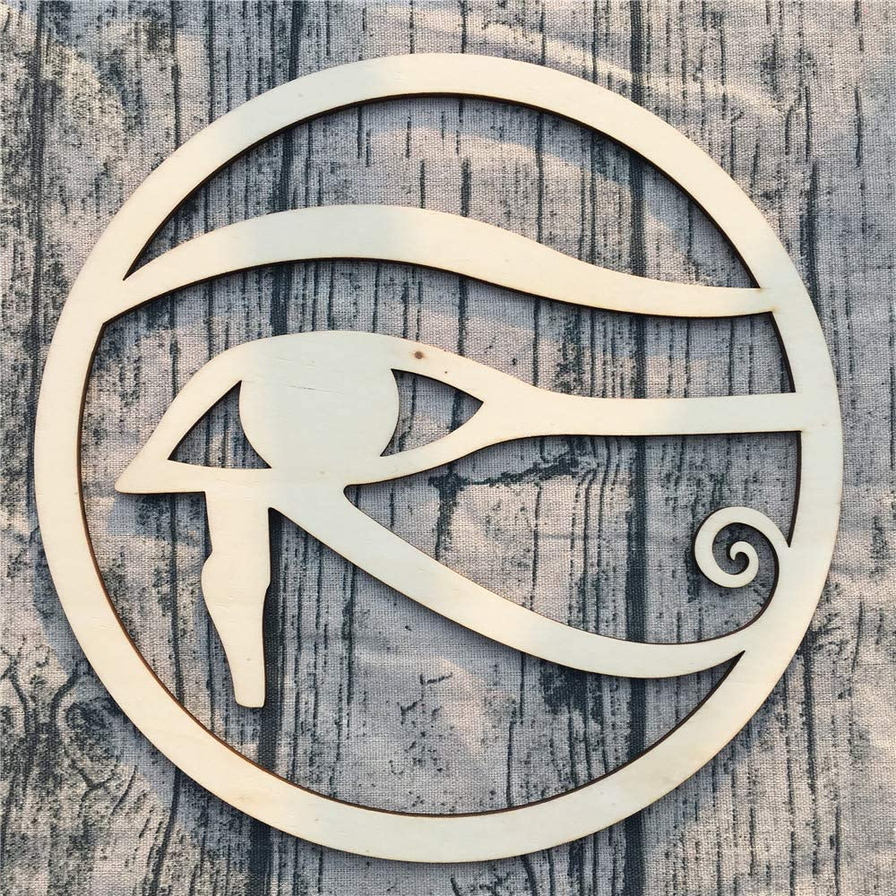 Eye of Horus Evil Eyes Symbol Egypitan Wall Decor – Wall Art – Wooden Wall Sculpture, Meditation & Energy Balance – for Home, Office, Yoga Studio (wooden color - birch wood, 11.5 Inch (29 CM))