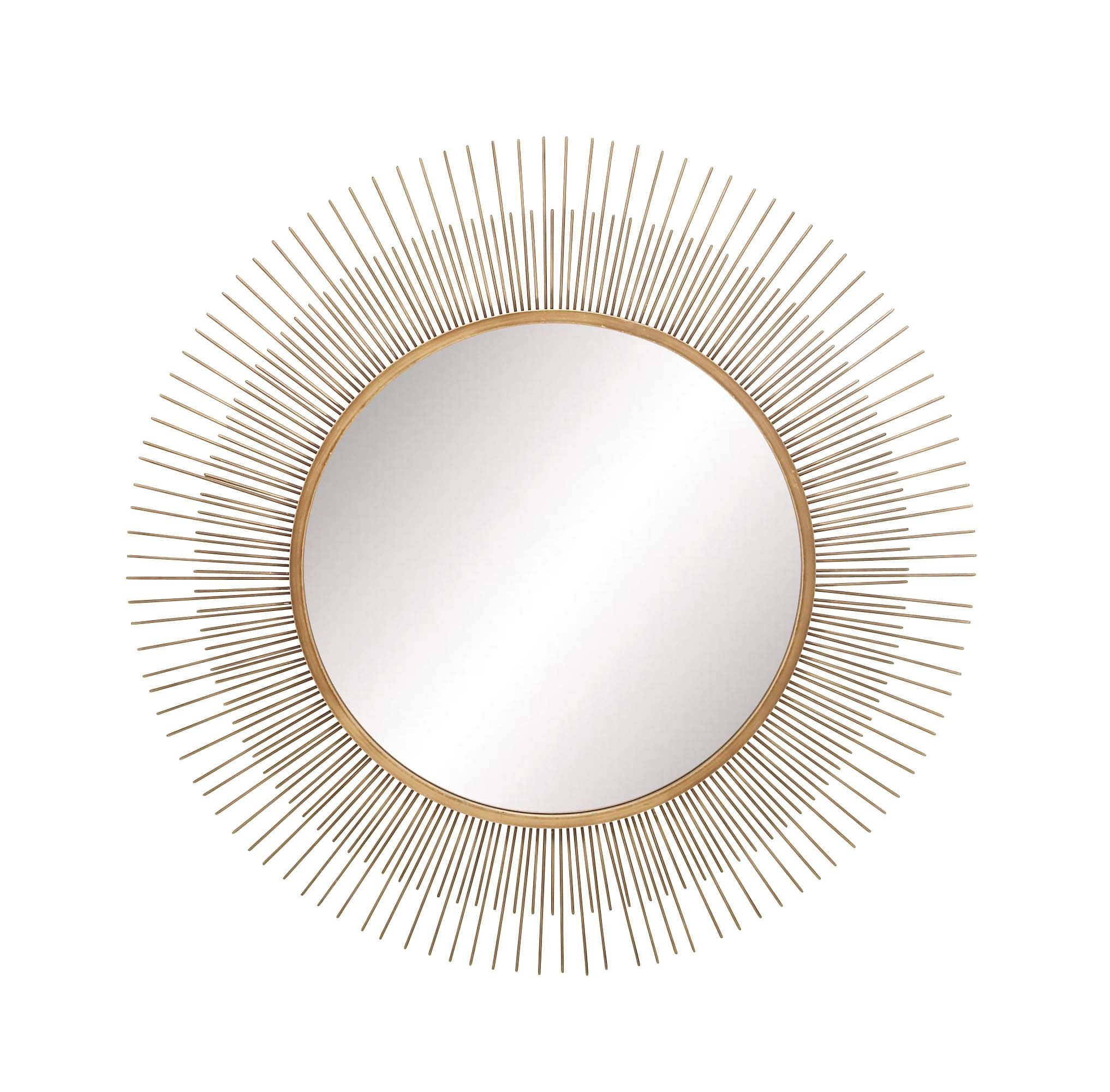 "Deco 79 22623 Metal Wall Mirror, 36"" x 36"", Gold - Large gold mirror with starburst silhouette from 2 layers of metal bars This large wall mirror measures 36""L x 1""W x 36""H and weighs 13.53 lbs.; round mirror measures 21"";  easy to hang by keyhole hardware in back Iron mirror frame with MDF back - bathroom-mirrors, bathroom-accessories, bathroom - 81SfRraLjOL -"
