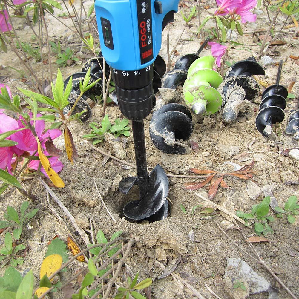Garden Planter Bulb Auger Drill Bit Garden Cultivator Hand Drill Digger Auger Rust-Proof Rapid Planter Bulb Plant Auger Umbrella Post Hole Digger for 10mm Hex Drive Drill