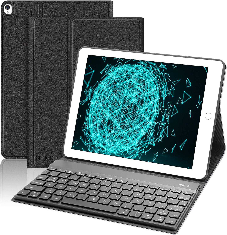 SENGBIRCH Teclado con Funda para iPad 10.2 2020 8ª Gen/2019 7ª Gen/iPad Air 3 2019/iPad Pro 10.5, Español Teclado Bluetooth Retroiluminado con Cover ...