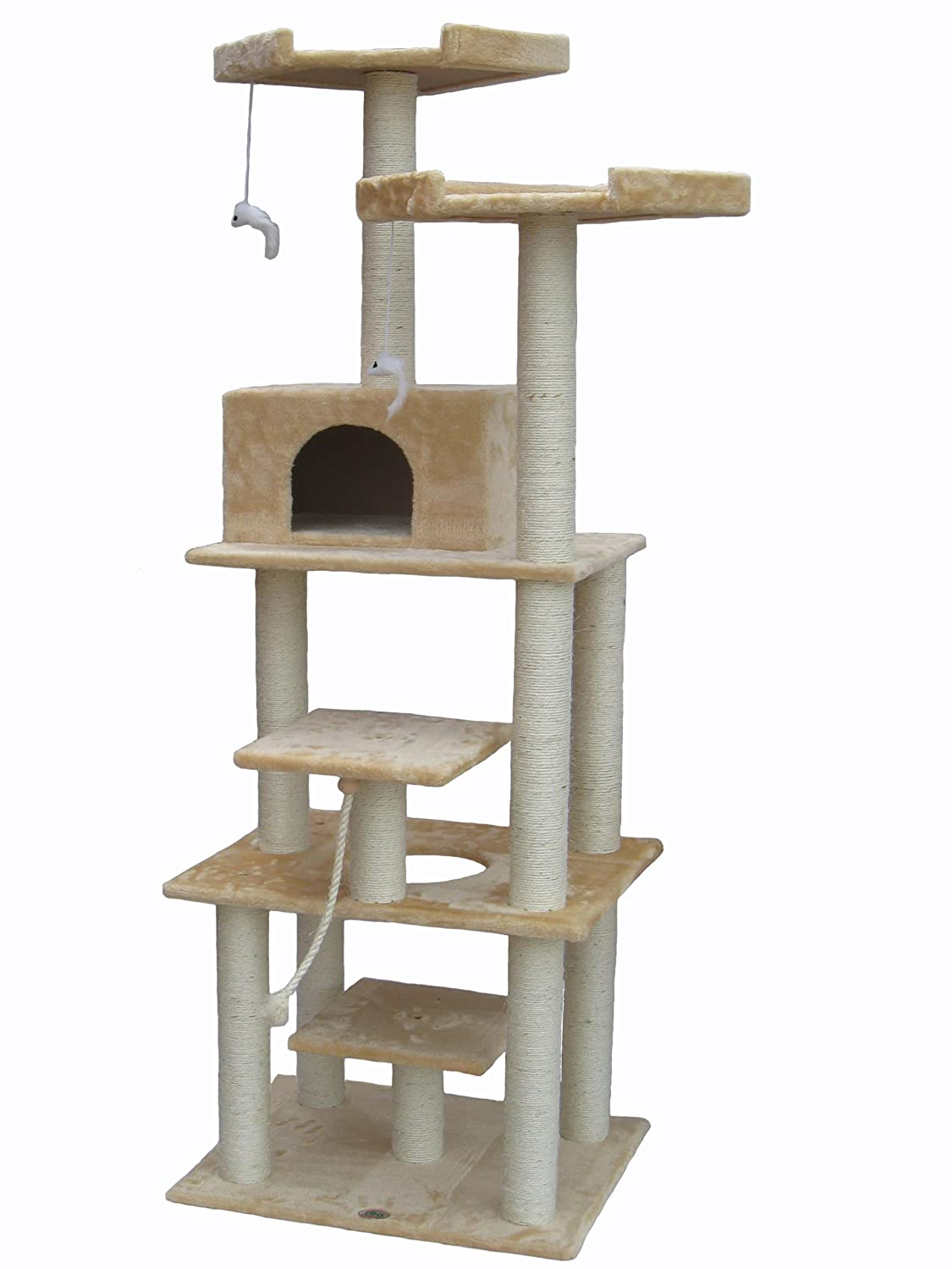 amazoncom  go pet club beige  cat tree f  pet supplies -