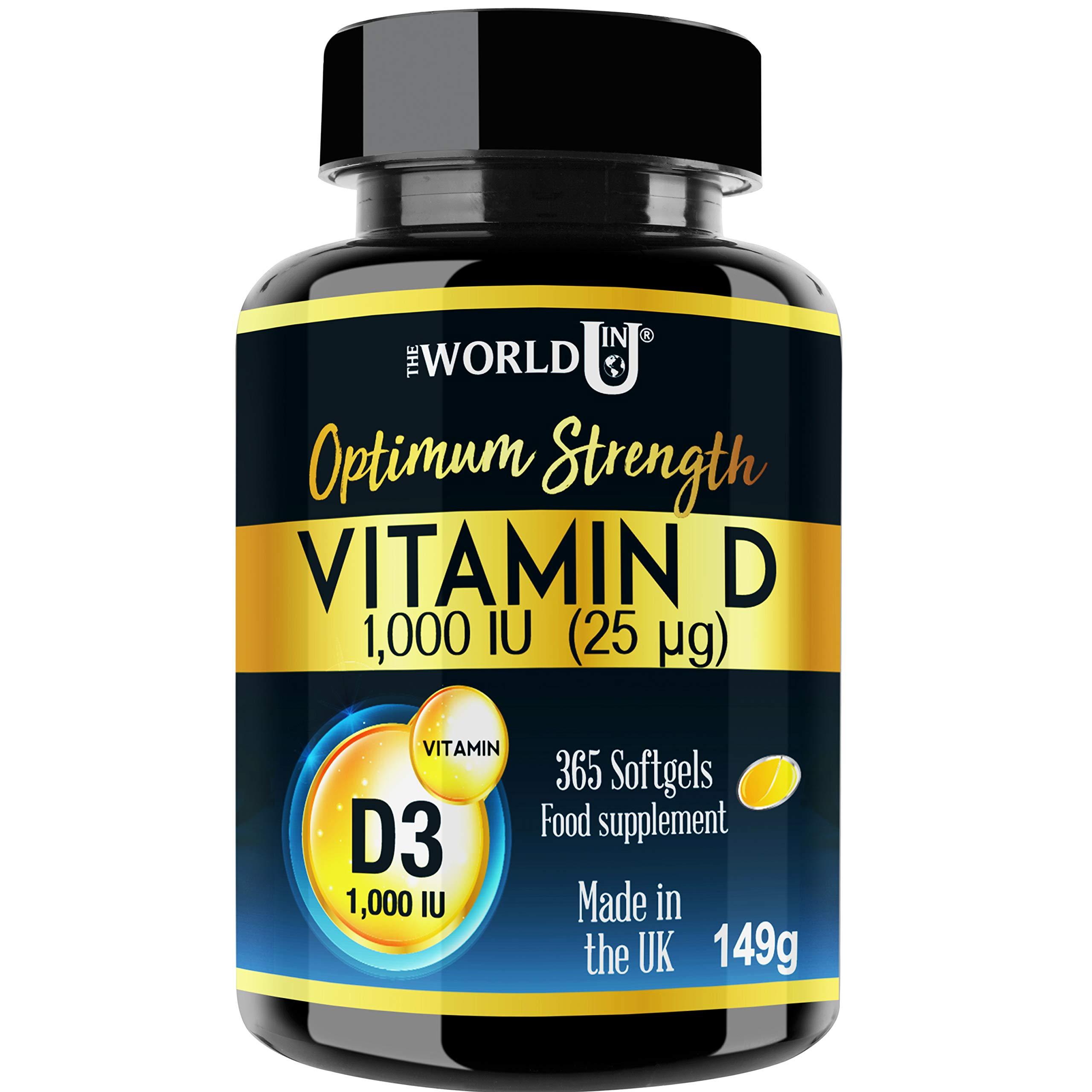 ec33830d165 Vitamin D3 1000IU 365 Softgels Rapid Absorption Vitamin D for Maintaining  Normal Bones and Teeth