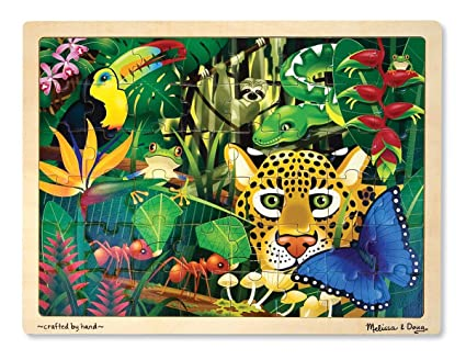 64feb6a4ab86 Image Unavailable. Image not available for. Color  Melissa   Doug  Rainforest Wooden Jigsaw Puzzle With Storage Tray ...