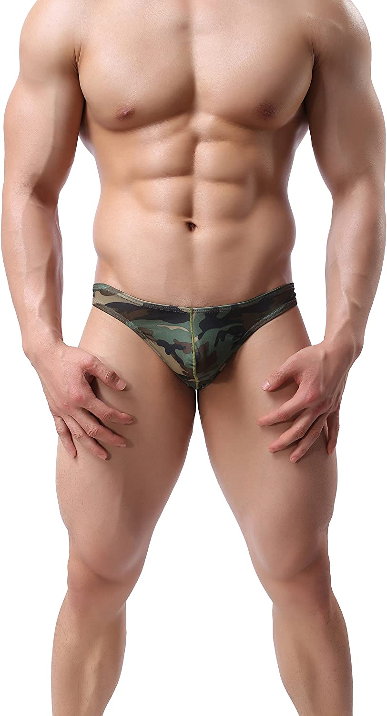 ONEFIT Mens Ployester Camo Triangle Underwear Milk Silk Bikini Briefs