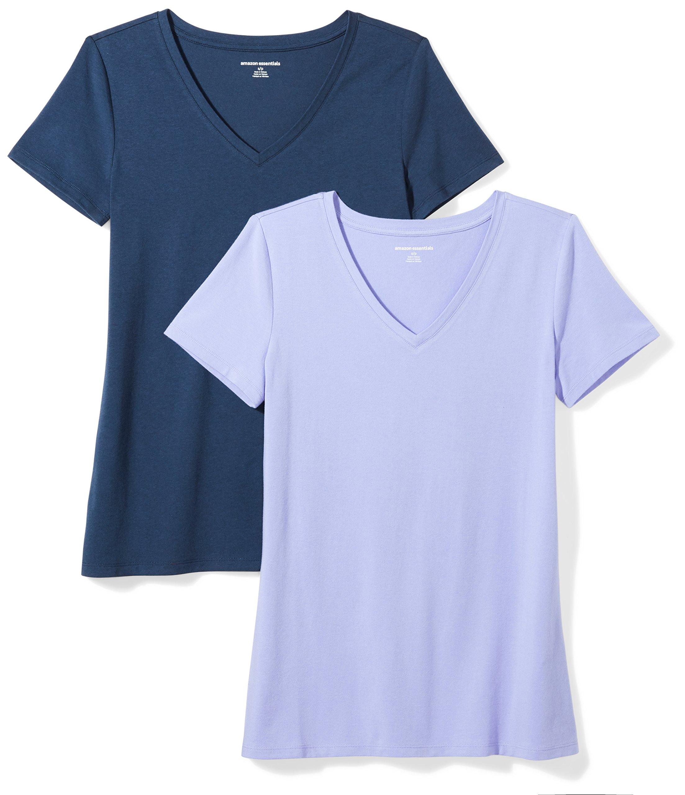 Amazon Essentials Women's 2-Pack Short-Sleeve V-Neck Solid T-Shirt, Purple/Navy, Medium by Amazon Essentials (Image #1)