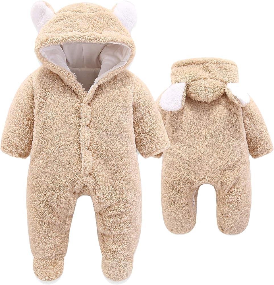 Newborn Baby Boy Girl Hooded Romper Fleece Bear Jumpsuits Bodysuit Clothes Coats