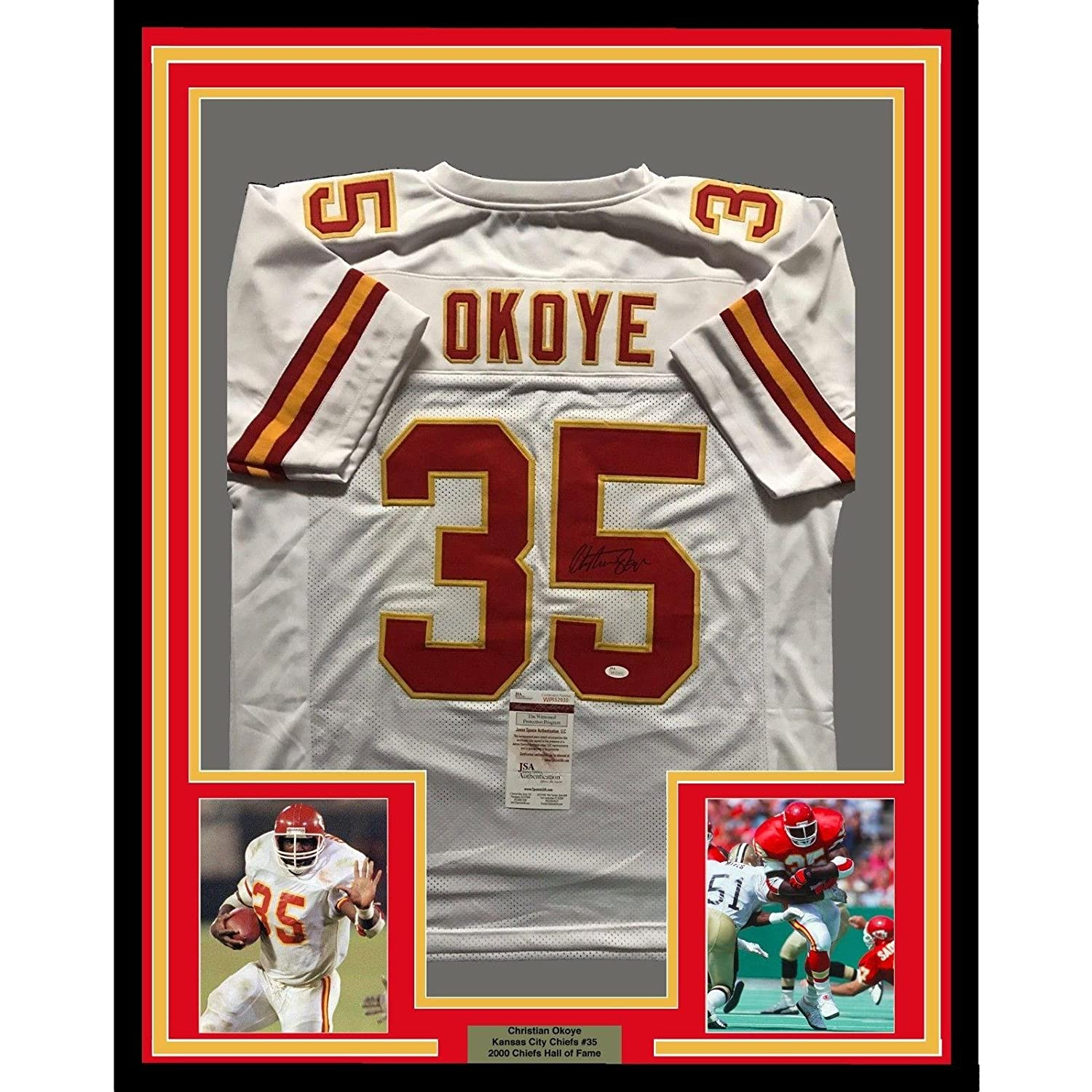 904b631d2cd Amazon.com: Christian Okoye Autographed Jersey - FRAMED 33x42 KC White COA  - JSA Certified - Autographed NFL Jerseys: Sports Collectibles