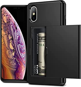 Vofolen for iPhone X Case Wallet Cover Card Holder Credit ID Slot Sliding Door for Men Women Hidden Back Pocket Anti-Scratch Dual Layer Armor Protective Bumper Hard Shell for iPhone X XS Black