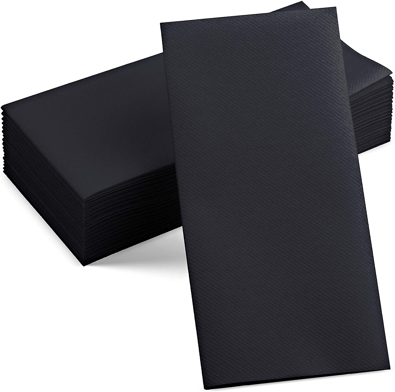 100 Linen-Feel Black Paper Napkins - Decorative Cloth-Like Black Dinner Napkins - Soft And Absorbent. For Kitchen, Party, Wedding, Bathroom Or Any Occasion. (Pack of 100)
