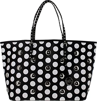 368d679e661c81 Michael Kors Handbag Jet Set Travel Dot Stud Medium Tote (Black/White)