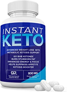 Instant Keto Pills, Pure Keto Diet Pill Capsules Supplement GoBHB and 800MG Proprietary Blend, Real Exogenous Ketones for Energy, Focus - Rapid Ketosis for Men Women