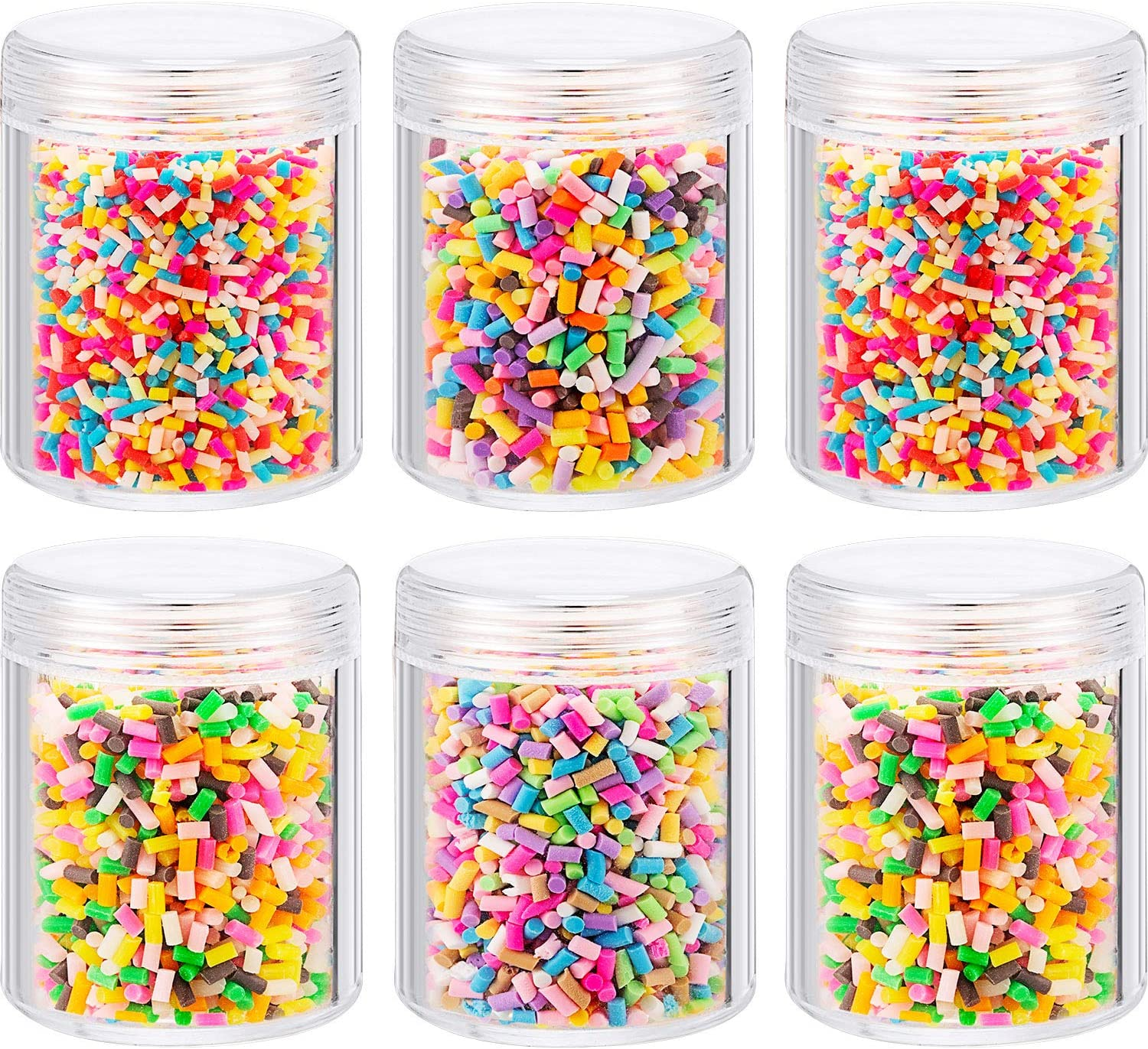 Zhanmai 6 Bottles of Colorful Fake Candy Sweets Sugar Chocolate Ice Sprinkles Decorations for Fake Cake Dessert Simulation Food Slime Kit DIY Crafts with Storage Bottles (Multicolor)