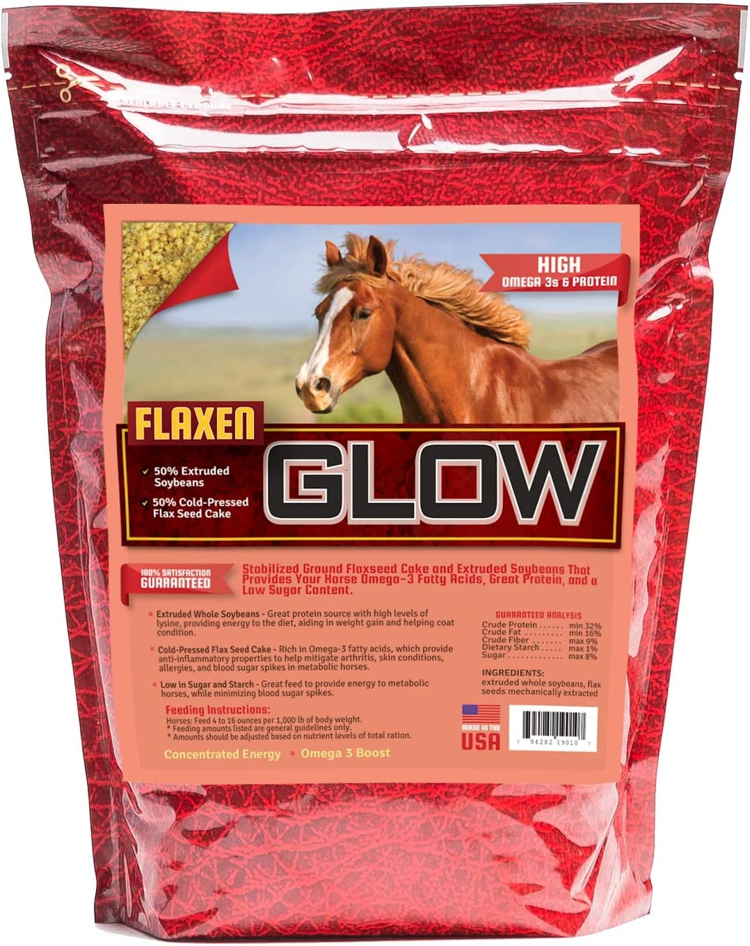Horse Guard Glow 10Lb. 50% Extruded Soy 50% Flax Cake