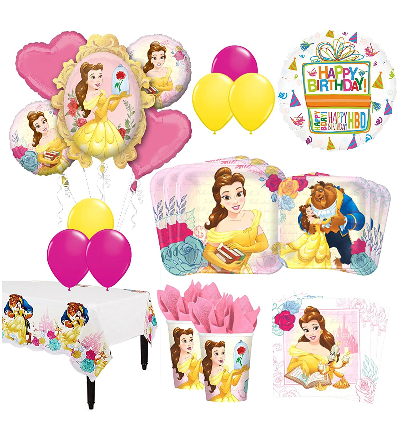 The Ultimate 8 Guest 53pc Beauty and The Beast Birthday Party Supplies and Balloon Decoration Kit Anscam
