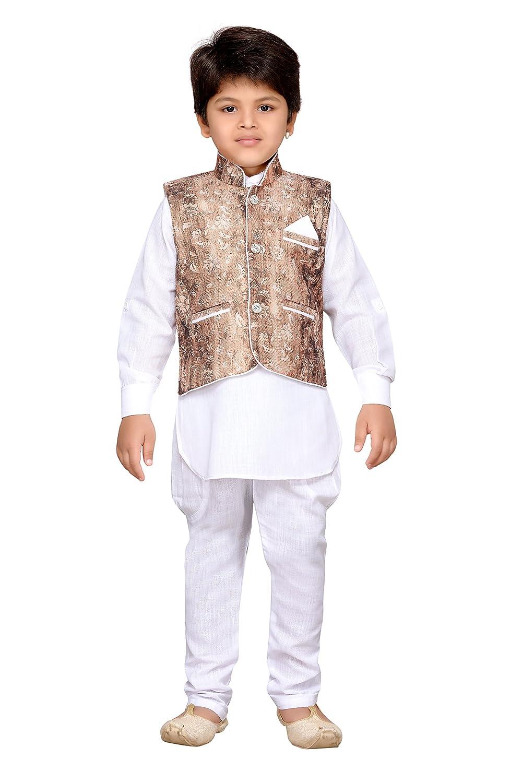 AJ Dezines Kids Indian Wear Bollywood Style Kurta Pyjama Waistcoat for Boys 701-BROWN-9